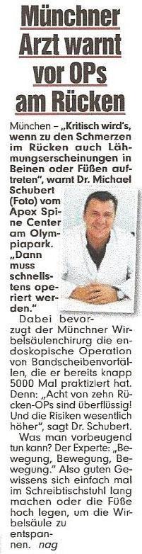 Dr. Schubert warnt vor OPs am Rücken