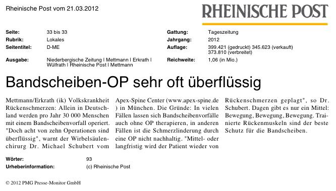 Rheinische Post: Bandscheiben-OP oft überflüssig